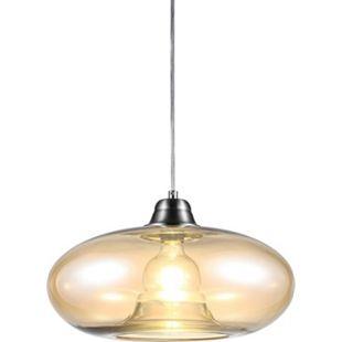 Nino Leuchten Pendelleuchte LILLE, Nickel matt, Glas amberfarbig - Bild 1