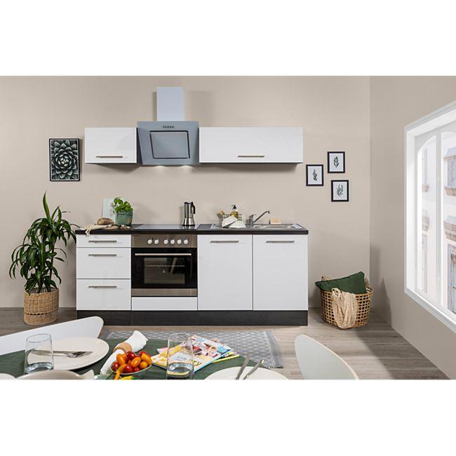Respekta Premium Küchenzeile RP210E 210 cm Eiche Grau NB - Weiß - Bild 1