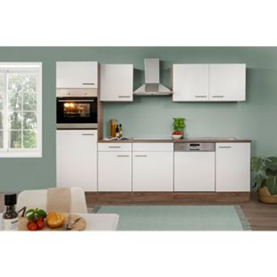 Respekta Küchenprogramm Eiche York Küchenzeile 280 cm inkl. E- Geräte & Mineralite Einbauspüle, weiß - Bild 1