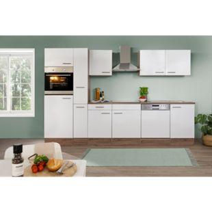 Respekta  Küchenprogramm Eiche York Küchenzeile 310 cm inkl. E-Geräte & Mineralite Einbauspüle, weiß - Bild 1