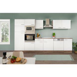 Respekta Küchenprogramm Eiche York Küchenzeile 340 cm inkl. E-Geräte & Mineralite Einbauspüle, weiß - Bild 1
