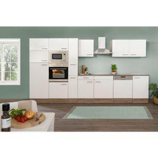 Respekta Küchenprogramm Eiche York Küchenzeile 370 cm inkl. E-Geräte & Mineralite Einbauspüle, weiß - Bild 1