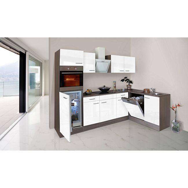 Respekta Küchenprogramm Eiche York Winkelküche 280 cm inkl. E-Geräte & Mineralite Einbauspüle, weiß - Bild 1