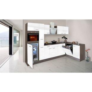Respekta Küchenprogramm Eiche York Winkelküche 310 cm inkl. E-Geräte & Mineralite Einbauspüle, weiß - Bild 1