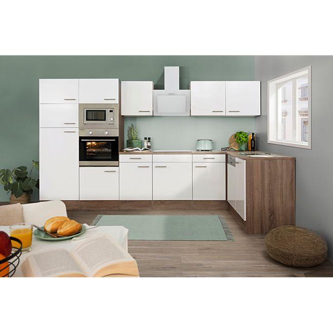 Respekta Küchenprogramm Eiche York Winkelküche 340 cm inkl. E-Geräte & Mineralite Einbauspüle, weiß - Bild 1