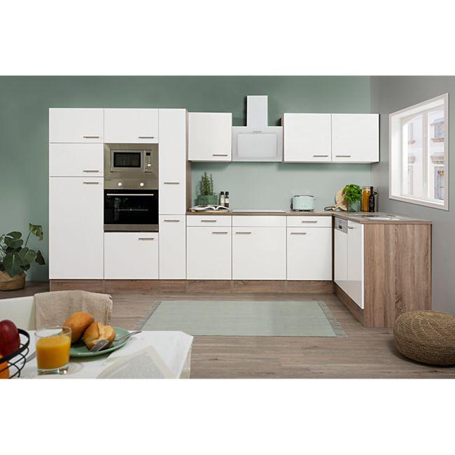 Respekta Küchenprogramm Eiche York Winkelküche 370 cm inkl. E-Geräte & Mineralite Einbauspüle, weiß - Bild 1