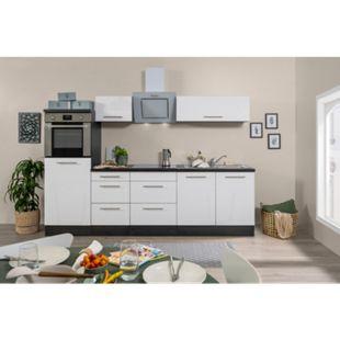 Respekta Premium Küchenzeile RP270HEWC 270 cm Eiche Grau Nachbildung - Weiß Hochglanz - Bild 1