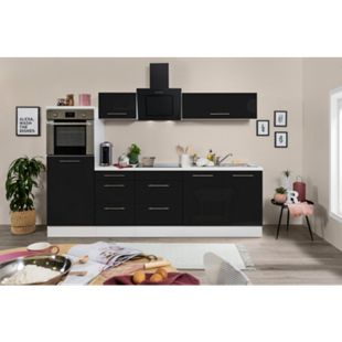 Respekta Premium Küchenzeile RP270HWSC 270 cm Weiß  - Schwarz Hochglanz - Bild 1