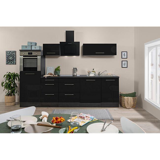 Respekta Premium Küchenzeile RP280HE 280 cm Eiche Grau NB - Schwarz Hochglanz - Bild 1
