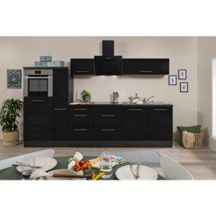 Respekta Premium Küchenzeile RP300HESC 300 cm Eiche Grau Nachbildung - Schwarz Hochglanz - Bild 1