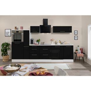Respekta Premium Küchenzeile RP310HWSC 310 cm Weiß - Schwarz Hochglanz - Bild 1