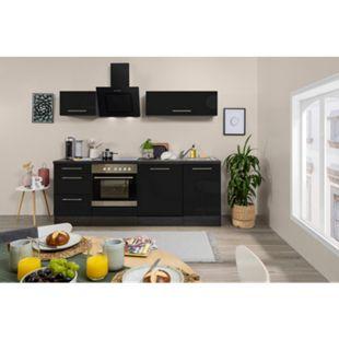 Respekta Premium Küchenzeile RP220E 220 cm Eiche Grau NB - Schwarz - Bild 1