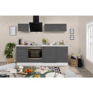 Respekta Premium Küchenzeile RP220WGC 220 cm Weiß - Grau - Bild 1