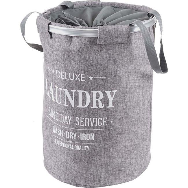 Wäschesammler MCW-C34, Laundry Wäschekorb Wäschebox Wäschesack Wäschebehälter mit Kordelzug, Henkel 55x39cm 65l ~ grau - Bild 1