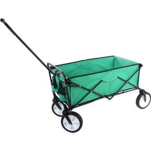 Faltbarer Bollerwagen MCW-E38, Handwagen Gartenwagen Transportwagen klappbar ~ ohne Dach/Hecktasche grün - Bild 1