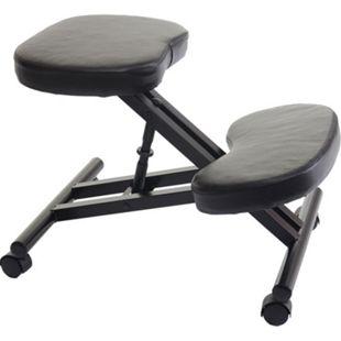 Kniestuhl MCW-E10, Sitzhocker Kniehocker Bürostuhl Bürohocker, höhenverstellbar mit Rollen Kunstleder Metall schwarz - Bild 1