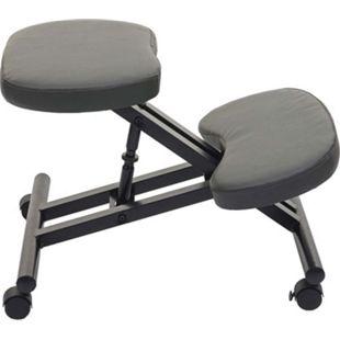 Kniestuhl MCW-E10, Sitzhocker Kniehocker, höhenverstellbar Rollen Kunstleder Metall ~ dunkelgrau matt - Bild 1