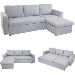 Schlafsofa MCW-D92, Couch Ecksofa Sofa, Schlaffunktion 220x152cm Stoff/Textil ~ hellgrau, ohne Deko-Kissen - Bild 1