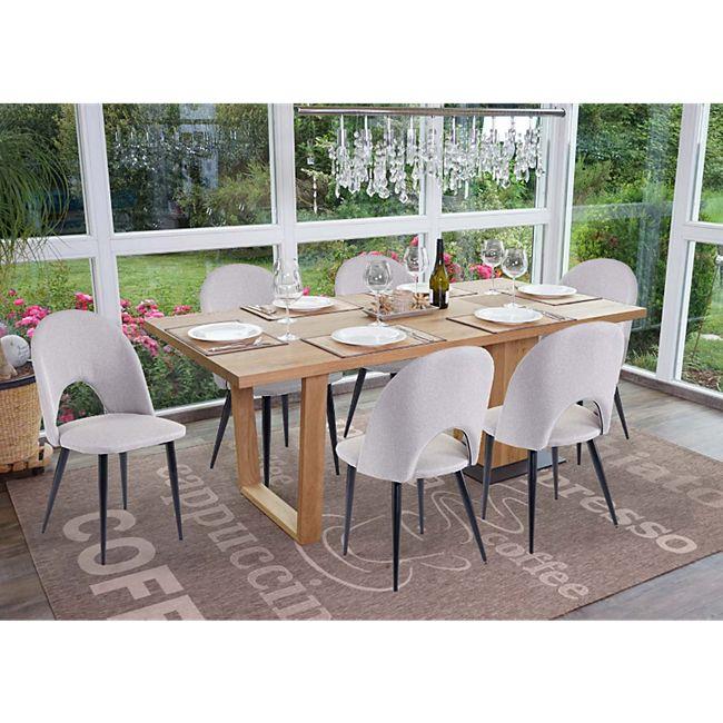 6x Esszimmerstuhl MCW-D73, Stuhl Küchenstuhl, Stoff/Textil ~ grau - Bild 1
