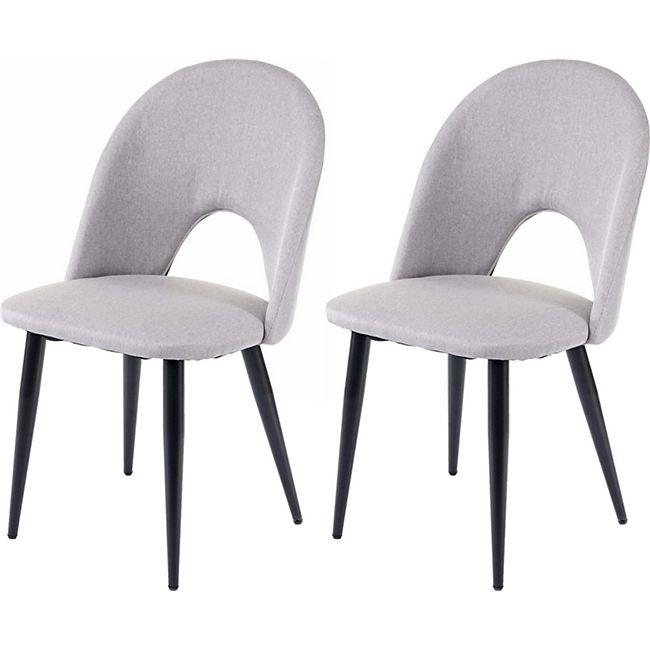 2x Esszimmerstuhl MCW-D73, Stuhl Küchenstuhl, Stoff/Textil ~ grau - Bild 1