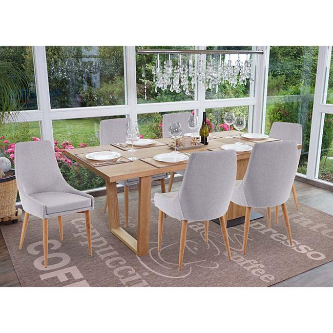 6x Esszimmerstuhl MCW-B44 II, Stuhl Küchenstuhl Retro Design ~ Stoff/Textil grau - Bild 1