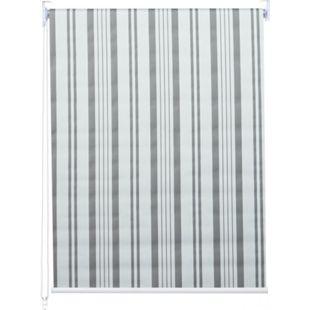 Rollo MCW-D52, Fensterrollo Seitenzugrollo Jalousie, Sonnenschutz Verdunkelung blickdicht 120x230cm ~ grau/weiß - Bild 1