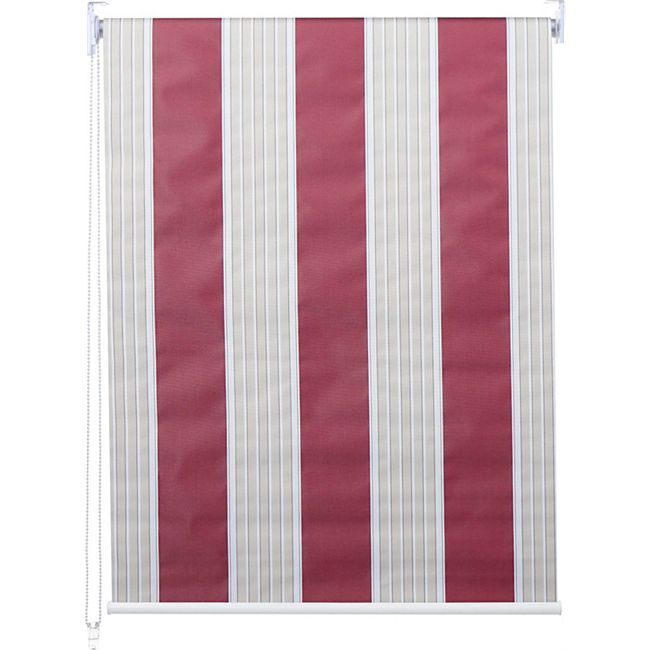 Rollo MCW-D52, Fensterrollo Seitenzugrollo Jalousie, Sonnenschutz Verdunkelung blickdicht 100x230cm ~ rot/weiß/beige - Bild 1
