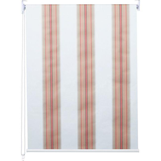 Rollo MCW-D52, Fensterrollo Seitenzugrollo Jalousie, Sonnenschutz Verdunkelung blickdicht 80x230cm ~ weiß/rot/beige - Bild 1