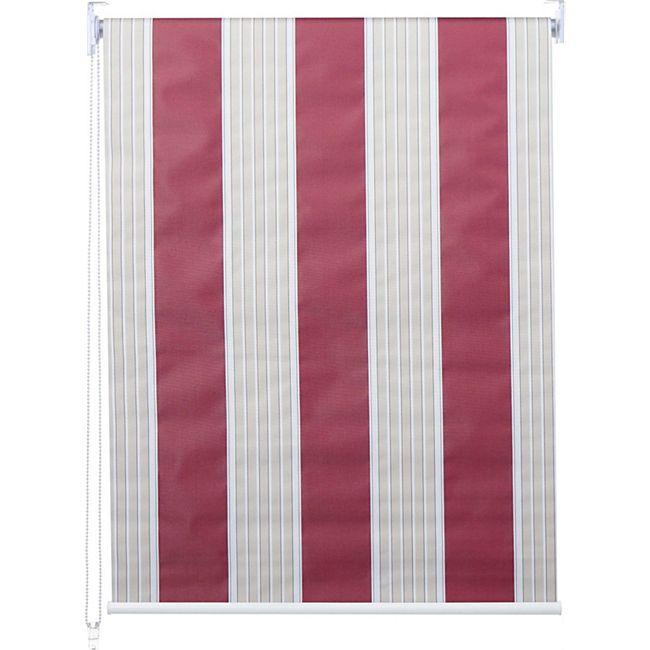 Rollo MCW-D52, Fensterrollo Seitenzugrollo Jalousie, Sonnenschutz Verdunkelung blickdicht 120x160cm ~ rot/weiß/beige - Bild 1