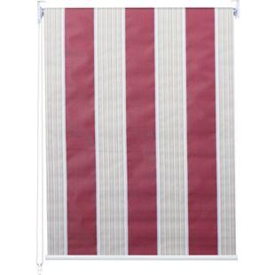 Rollo MCW-D52, Fensterrollo Seitenzugrollo Jalousie, Sonnenschutz Verdunkelung blickdicht 90x160cm ~ rot/weiß/beige - Bild 1