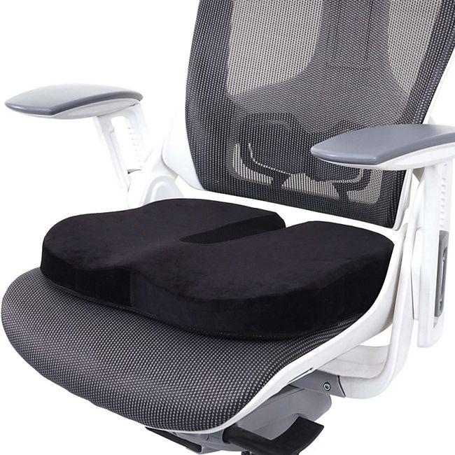 Sitzkissen MCW-D11, Stuhlkissen Sitzerhöhung Sitzpolster Sitzauflage für Bürostuhl Auto, Memory Schaum ~ Samt schwarz - Bild 1
