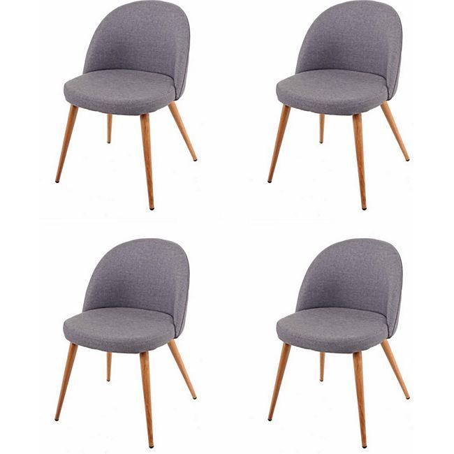 4x Esszimmerstuhl MCW-D53, Stuhl Küchenstuhl, Retro 50er Jahre Design, Stoff/Textil ~ dunkelgrau - Bild 1