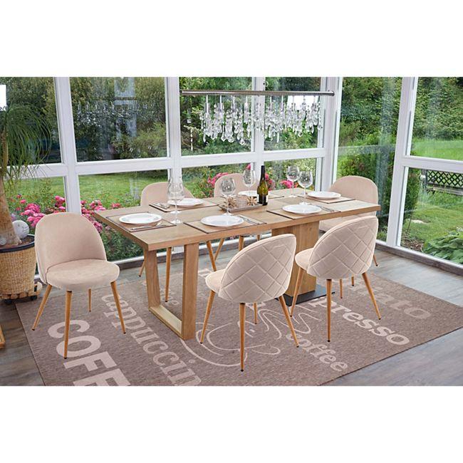 6x Esszimmerstuhl MCW-D53, Stuhl Küchenstuhl, Retro 50er Jahre Design, Stoff/Textil ~ beige - Bild 1