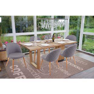6x Esszimmerstuhl MCW-D53, Stuhl Küchenstuhl, Retro 50er Jahre Design, Stoff/Textil ~ dunkelgrau - Bild 1
