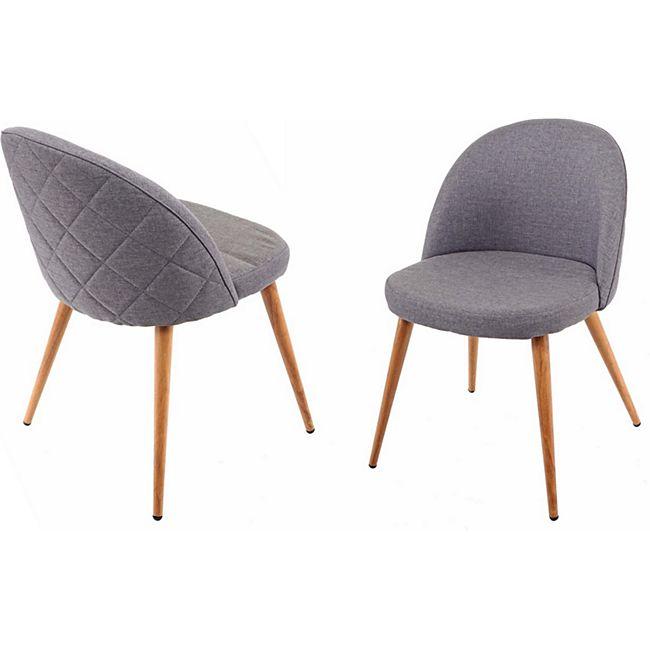 2x Esszimmerstuhl MCW-D53, Stuhl Küchenstuhl, Retro 50er Jahre Design, Stoff/Textil ~ dunkelgrau - Bild 1