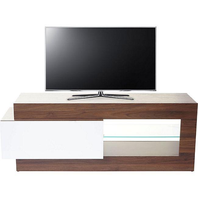 TV-Rack MCW-B51, Fernsehtisch Lowboard Schrank, 3D-Struktur Walnuss-Optik hochglanz 55x150x47cm - Bild 1