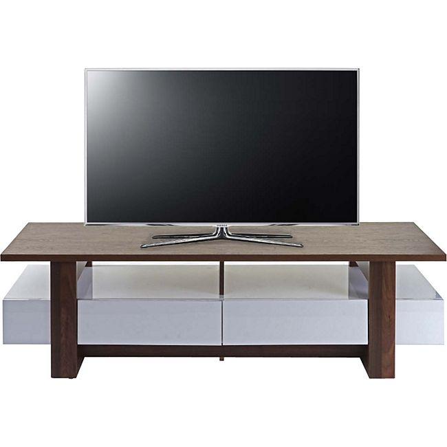 TV-Rack MCW-B51, Fernsehtisch Lowboard Schrank, 3D-Struktur Walnuss-Optik hochglanz 46x150x45cm - Bild 1
