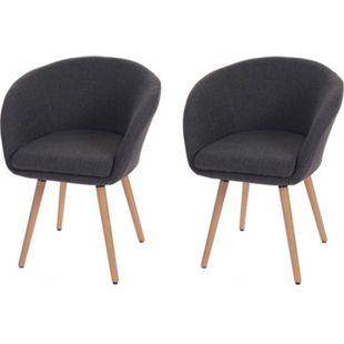 2x Esszimmerstuhl Vaasa T633, Stuhl Küchenstuhl, Retro 50er Jahre Design ~ Textil, grau - Bild 1