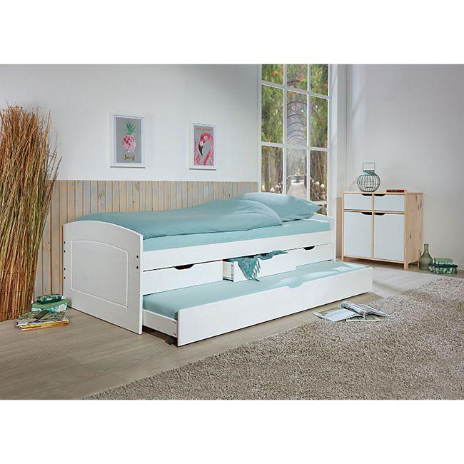 Inter Link Funktionsbett Rieka 90 x 200 cm in Weiss mit 2 Liegeflächen und 3 Schubladen - Bild 1