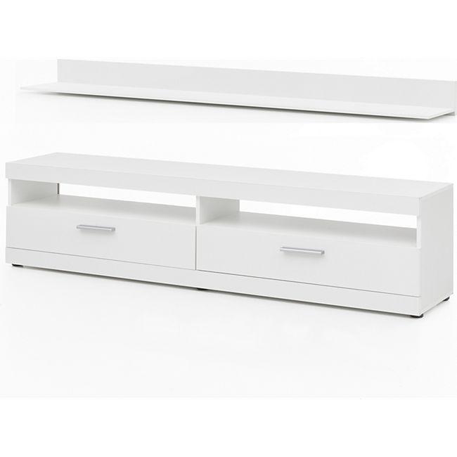 TV-Lowboard mit 2 Fächern und 2 Klappen, inkl. Wandregal, Korpus und Fronten Weiß - Bild 1