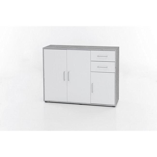 Serie Büro, Schrank mit 3 Türen und 2 Schubladen, Beton/Weiß Dekor - Bild 1