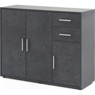 Serie Büro, Schrank mit 3 Türen und 2 Schubladen, Graphit Dekor - Bild 1