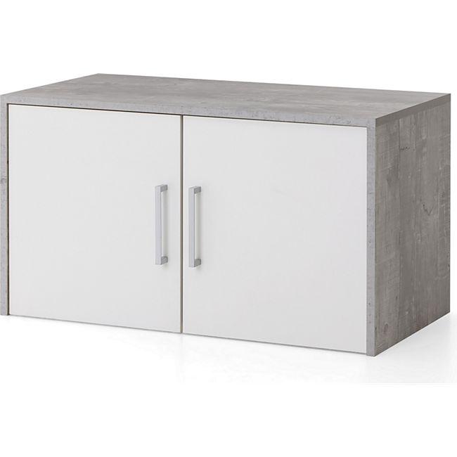 Serie Büro, Aufsatz-/Hängeschrank breit mit 2 Türen, Beton/Weiß Dekor - Bild 1