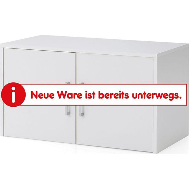 Serie Büro, Aufsatz-/Hängeschrank breit mit 2 Türen, Weiß Dekor - Bild 1