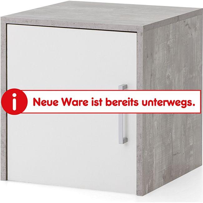 Serie Büro, Aufsatz-/Hängeschrank schmal mit 1 Tür, Beton/Weiß Dekor - Bild 1