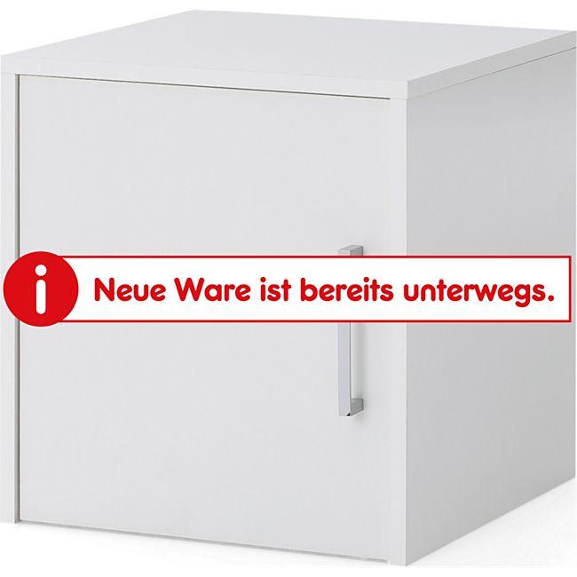 Serie Büro, Aufsatz-/Hängeschrank schmal mit 1 Tür, Farbe: Weiß Dekor - Bild 1
