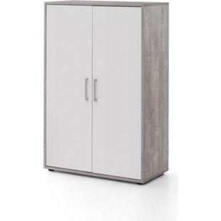 Serie Büro, Schrank breit mit 2 Türen, 110,5 cm hoch, Beton/Weiß Dekor - Bild 1