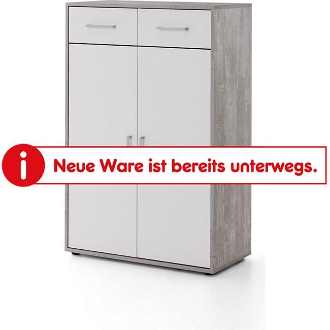 Serie Büro, Schrank breit mit 2 Türen und 2 Schubladen, 110,5 cm hoch, Beton/Weiß Dekor - Bild 1