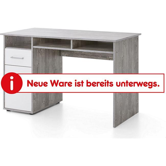 Serie Büro, Schreibtisch 125 x 60 cm, mit 1 Tür und 1 Schublade, Beton/Weiß Dekor - Bild 1