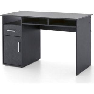 Serie Büro, Schreibtisch 125 x 60 cm, mit 1 Tür und 1 Schublade, Graphit Dekor - Bild 1